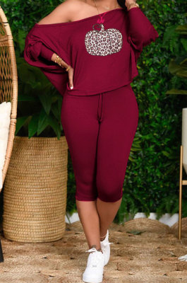 Wine Red Cute Halloween Print Oblique Shoulder Loose T-Shirts Cropped Pants Big Yards Sets H1731-2