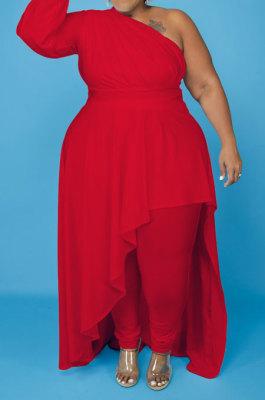 Red Cotton Blend Big Yards One Sleeve Oblique Shoulder Irregularity Tops Pencil Pants Far Women Sets X9328-3
