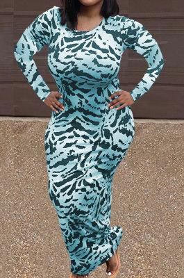 Blue Women Round Collar Long Sleeve Printing Tight Sexy Loose Waist Long Dress KZ2142-4
