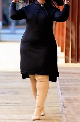 Black Autumn Winter Lady Loose Long Sleeve Solid Color Round Collar Irregular Mini Dress KZ2140-3