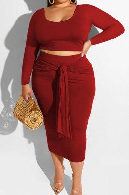 Wine Red Fashion Big Yards Long Sleeve Round Neck Crop Tops Bandage Hip Skirts Slim Fitting Sets SMD82083-3