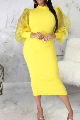 Yellow Wholesale New Mesh Spliced Puff Sleeve O Neck Collect Waist For Party Pencil Dress SMR10564-2