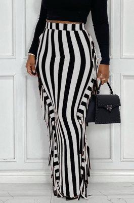 White Euramerican Women Stripe Printing Tassel Pencil Skirts AL188-1
