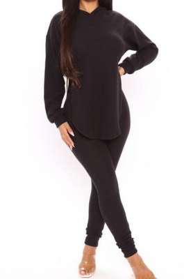 Black Cotton Blend Casual Long Sleeve Slit Hoodie Pencil Pants Slim Fitting Sets HH8942-1