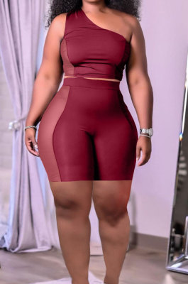 Wine Red Sexy Oblique Shoulder Mesh Spliced Tops Shorts Solid Color Two-Piece HT6073-2