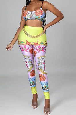 Pink Sexy Women Fashion Printing Tight Condole Belt Skinny Backless Long Pants Sets CCY9198-2