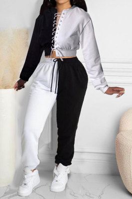 White Women Bandage Eyelet Color Matching Spliced Pants Sets MDF5259-1