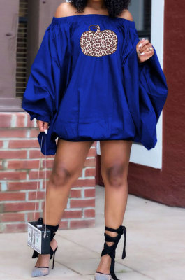 Blue Fashion Halloween Printing A Wrod Shoulder Lantern Sleeve Loose Mini Dress H1733-3