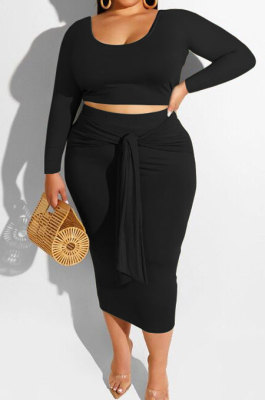 Black Fashion Big Yards Long Sleeve Round Neck Crop Tops Bandage Hip Skirts Slim Fitting Sets SMD82083-4