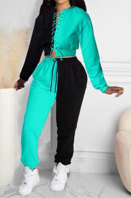 Light Blue Women Bandage Eyelet Color Matching Spliced Pants Sets MDF5259-1