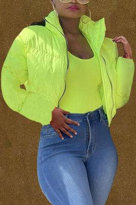 Neon Green Women Long Sleeve Cardigan Zipper Solid Color Keep Warm Down Jacket KZ2141-3