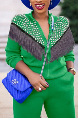 Green Euramerican Fashion Tassel Tops Coat Zipper Pocket Pants Sets CCY9212-4