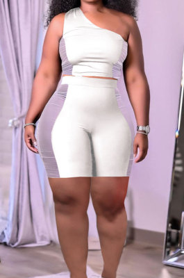 White Sexy Oblique Shoulder Mesh Spliced Tops Shorts Solid Color Two-Piece HT6073-1