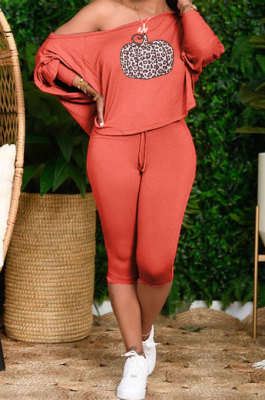 Orange Cute Halloween Print Oblique Shoulder Loose T-Shirts Cropped Pants Big Yards Sets H1731-1
