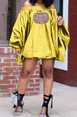 Yellow Fashion Halloween Printing A Wrod Shoulder Lantern Sleeve Loose Mini Dress H1733-1