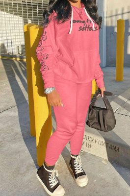 Pink Wholesale Newest Letter Printing Long Sleeve Loose Hoodie Ankle Banded Pants Sport Sets HT6078-2