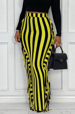 Yellow Euramerican Women Stripe Printing Tassel Pencil Skirts AL188-5