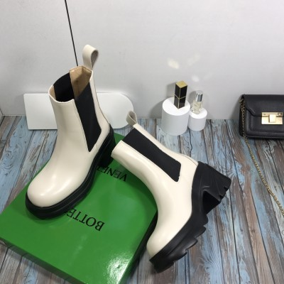 Women's Leather Chelsea Boots in White & Black