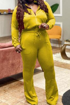 Yellow Big Yards Autumn Winter Long Sleeve Zip Front Tops High Waist Flare Pants Fat Women Sport Sets WM21821-3