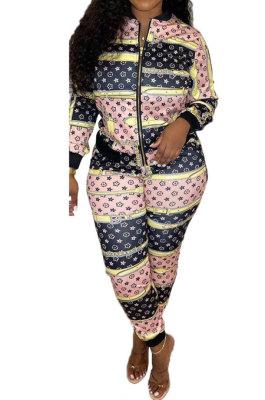 Pink Women Printing Long Sleeve Zipper Cardigan Fashion Pants Sets HFY71133