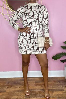 Euramerican Women Fashion Printing Round Collar Mini Dress HFY71135