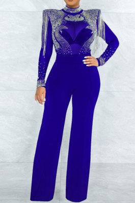 Blue Women Fashion Sexy Bodycon High Collar Perspectivity Bling Bling Tassel Bodycon Jumpsuits CCY9232B-3