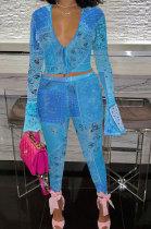 Blue Euramerican Women Fashion Sexy Mesh Spaghetti Printing Horn Sleeve Pants Sets FFE180-3