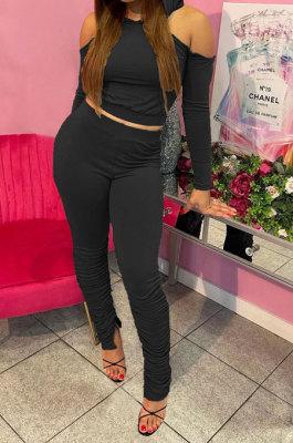 Black Casual Cotton Blend Off Shoulder Long Sleeve Back Bandage Hoodie High Waist Slit Ruffle Pants Solid Color Sets WM21907-1