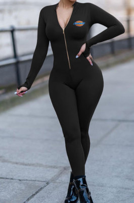 Fashion Casual Printing Long Sleeve Zip Front Solid Color Collect Waist Bodycon Jumpsuits OQ033