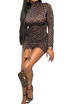 Euramerican Women Trendy Printing Pullover Round Collar Bodycon Mid Waist Mini Dress HFY71105