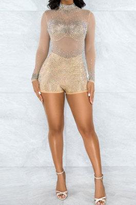 Apricot Women Long Sleeve Round Collar Hot Drilling Sexy Mesh Spaghetti Romper Shorts Q943-3
