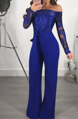 Blue Bodycon Long Sleeve Embroidered Lace Patchwork Strapless Wide Leg Jumpsuits QZ3227-5