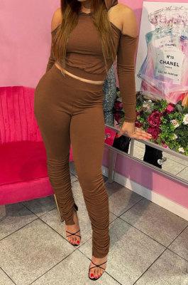 Coffee Casual Cotton Blend Off Shoulder Long Sleeve Back Bandage Hoodie High Waist Slit Ruffle Pants Solid Color Sets WM21907-3