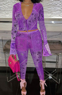 Purple Euramerican Women Fashion Sexy Mesh Spaghetti Printing Horn Sleeve Pants Sets FFE180-2
