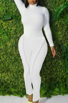 White Simple Wholesale Long Sleeve High Neck Bodycon Tops Pencil Pants Slim Fitting Sets L0363-1