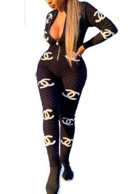 Women Fashion Printing Long Sleeve Zipper Bodycon Jumpsuits HFY71101