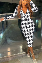 White Women Fashion Sexy Tight Long Sleeve V Collar Printing Midi Dress FFE181