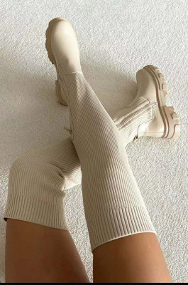 Flat Knitted High Boots