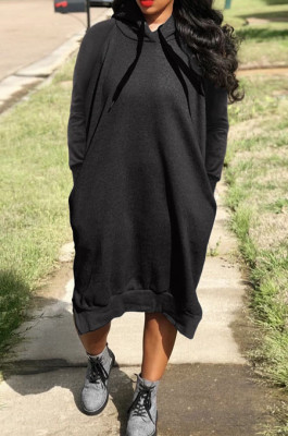 Black Cotton Blend Casual Pure Color Long Sleeve Loose Hooded Dress H1726-4
