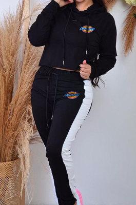 Casual Newest Long Sleeve Hoodie Side Spliced Easticotband Sweat Pants Casual Sets OQ034