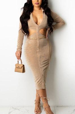 Khaki Fashion Velvet Elastic Long Sleeve Deep V Neck Hollow Out Wrap Dress QZ7004-2