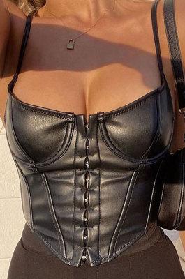 Black Sports PU Leather Vest Slim Condole Belt Sexy Top HLR00976-2
