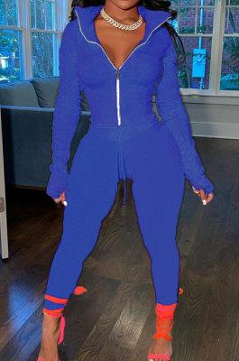 Drak Blue Wholesale Pure Color Long Sleeve Zip Front Tops Trousers Slim Fitting Sport Sets TC043-5