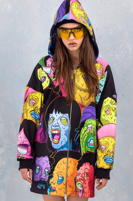 Cute Personality Halloween Print Casual Hooded Jecket Coat LS6380