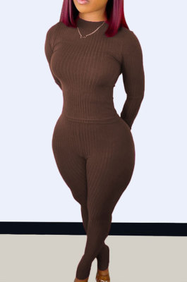 Brown Wholesale Newest Ribber Long Sleeve O Neck T-Shirts Bodycon Pants Slim Fitting Solid Color Sets TC095-4