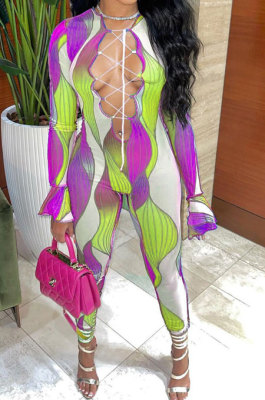 Purple Euramerican Women Gradient Sexy Bandage Hollow Out Crop Bodycon Jumpsuits BYQ1031-2
