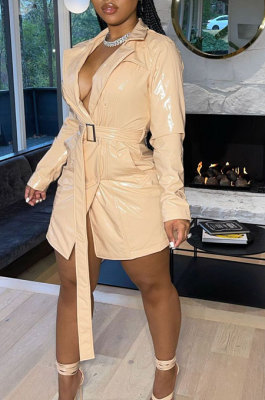Apricot Fashion Winter Thicken PU Long Sleeve Lapel Neck With Beltband Dress QZ3327-2