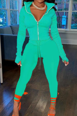 Cyan Wholesale Pure Color Long Sleeve Zip Front Tops Trousers Slim Fitting Sport Sets TC043-1