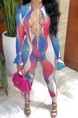 Blue Euramerican Women Gradient Sexy Bandage Hollow Out Crop Bodycon Jumpsuits BYQ1031-1