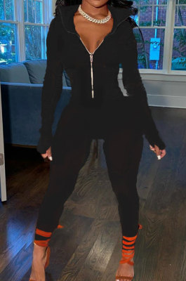 Black Wholesale Pure Color Long Sleeve Zip Front Tops Trousers Slim Fitting Sport Sets TC043-6